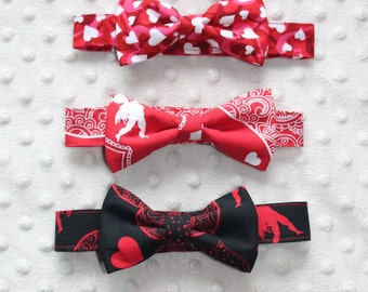 Valentine's Little Guy Bow Tie with Velcro Strap, Smash Cake Outfit, Photo Prop
