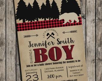 Lumberjack Baby Shower Invitation | Lumberjack | Plaid | Woodsy | Invitation | Lumber Jack | Buffalo Check Invitation
