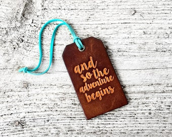 Leather Luggage Tag Travel Gift, Wedding Gift, And So The Adventure Begins, Graduation Gift, Travel Quote, For the Couple