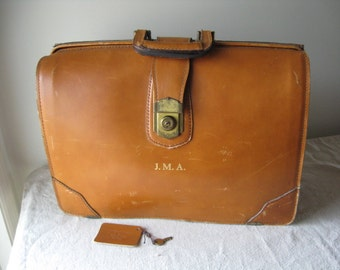 Schlesinger Leather Briefcase with Key, Three Compartments, Vintage Tan Attache Luggage