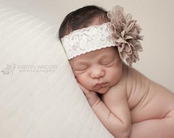Brown Lace Headband, Baby Headbands, Brown Headbands, Newborn Headband, Baby Girl Headband, Brown Headbands