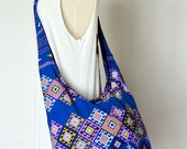 For Her Hippie Boho Hobo Bag Crossbody Messenger Bag Women Shoulder Bag Diaper Bag Handbags with Zipper ,Disco Abstract Colorful Blue