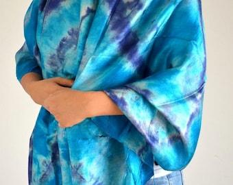 Women Green Blue Tie Dye Scarf Silk Scarf Top Quality Handmade Multi Colored Scarf Wide Scarf Bohemian Scarf Mother Gift Scarf Shawl 30x71