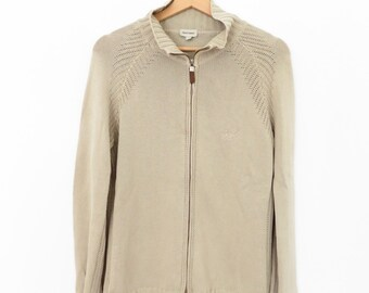 HENRY COTTON'S Beuatiful Beige Cotton Cardigan With Two Way Zip, sz. 46