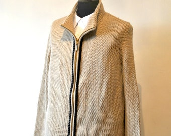 LES COPAINS Women's Beige Wool Cardigan with Golden Zip and Leather Details, sz. 46