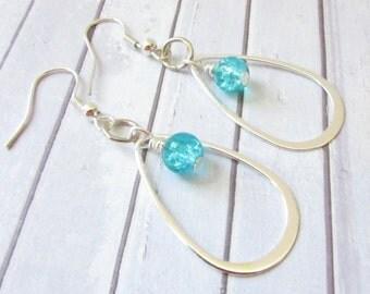 Dangle Earrings, Silver Drop Earrings, Hoop Earrings, Turquoise Earrings, Crystal Earring, Aqua Loop Earrings, Valentine Gift, Gift for Her