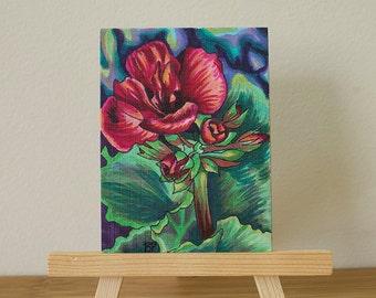 ORIGINAL Mini Drawing- Red Floral Copic Mini Drawing- Beyond Me
