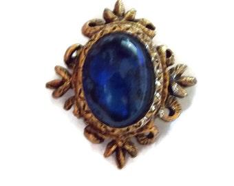 Cobalt Blue Glass Cabochon Pin Brooch