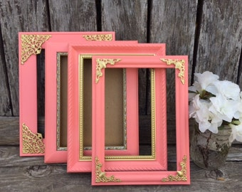 Coral and Gold Picture Frames, 5x7, Coral and Gold Decor, Table Number Frames, Wedding, Nursery Decor, Coral and Gold Decor,