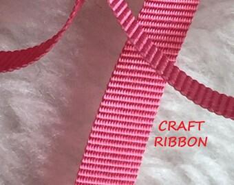 15 YARDS, 1960s Vintage, Bengal PINK 5/16 Inch, Grosgrain Satin Craft Ribbon, Acetate, C134