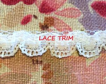 1-3/4 YARDS, WHITE 1/2 Inch, Flat Lace Sewing Edge Trim, Stiff, Eyelet Scallops, L254