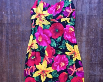 Bright Floral Dress with Tie-Back