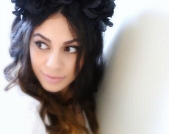 BLACK ROSE Headband, Flower Headband, Floral Crown, Black Flower Crown