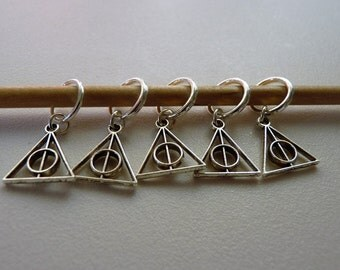 Set of 5 Deathly Hallows Symbol Harry Potter Handmade Stitch Markers