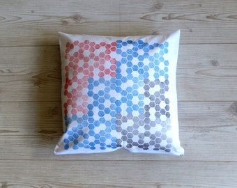 Cushion cover: 'Honeycomb' design handprinted on white cotton