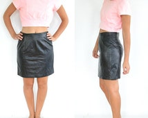 Tannery West Vintage Black Leather Skirt (Modern Size 6 Vintage size 12)