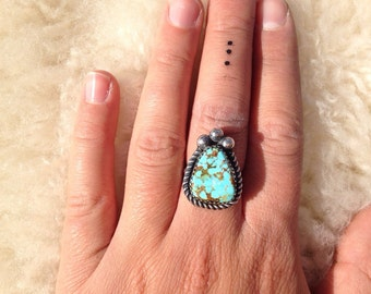 Hachita Turquoise Sterling Sliver Ring - Handmade
