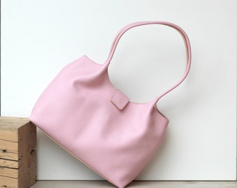 Pastel pink leather shoulder bag, leather bag, leather handbag, pink bag,  FREE SHIPPING