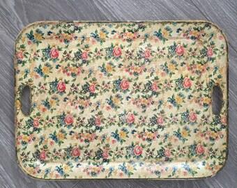 Vintage Chintz Tray, Floral Tray, Florentine Tray, Paper Mache Tray, Floral Tray, Mid Century Tray, Decorative Tray