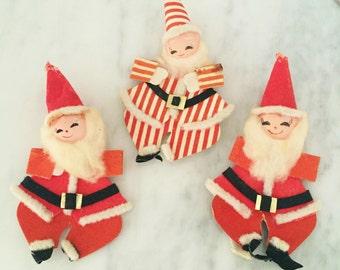 Vintage Spun Cotton Christmas Ornaments,   Retro Santa Decor, Spun Cotton Santas, Santa Ornaments, 1950s Santa Decor, Flocked Santas