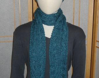 Glacier Blue Cabled Hat & Scarf Set