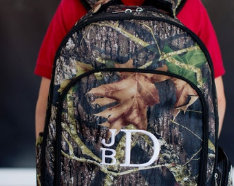 Camo Woods Backpack with Monogram for Back to School for Boys or Girls, School Backpack, Lunch Bag, Camo