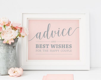 Printable Advice Sign and Advice Cards Wedding // Pink Advice Sign, Printable Advice Cards, Advice for Newlyweds
