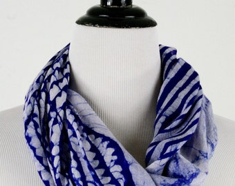 Vintage Blue and White Hand Dyed Large Rayon Square Scarf Sarong