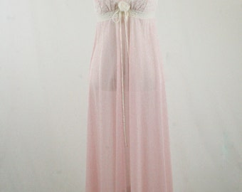 1960s Pale Pink Nylon Lace Padded Bodice Long Gown