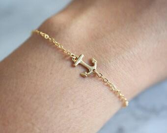 Gold Anchor Bracelet, Anchor Jewelry, Sideways Anchor Bracelet, Side Anchor, Gold Sideways Anchor, Whisper Chain, Thin Gold Bracelet