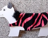 """Meow-WOW Hot Pink Tiger Stripe x-small (7-10 lbs., 15"""" girth) Fleece Dog Coat with soft flannel lining. Cozy, Warm and Cute."""