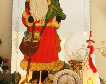 "Vintage Folk Art Santa Claus Christmas Display, 21.5"" Tall"