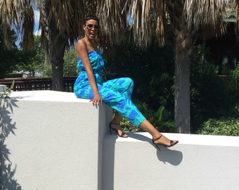 80's Vtg. Halter Tube Top Aqua Floral Jumpsuit/ With Matching Oversize Boyfriend Blazer Cover