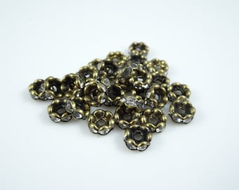 Spacer Bead, Rondelle - Vintage Style Rhinestone Rondelle Spacer (A014L6AB) - 6mm - Antiqued Brass/Bronze with Rhinestones - Qty 20 pcs.