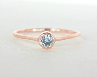 White Sapphire Ring 14k Rose Gold Natural Sapphire Diamond Alternative Gold Ring Made in Your Size Sapphire Engagement Ring
