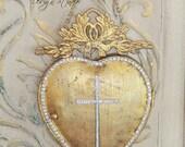 Metal heart, ex-voto heart, metal heart mirror, Mediterranea Design Studio, wall hanging, sacred heart, metal wall decor, vintage french