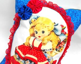 Goldilocks Pillow Handmade Decorative Girls Room Decor American Girl Patriotic Red Blue Folk Baby Shower Gift Pocket Lace Hand-Sewn Rosettes