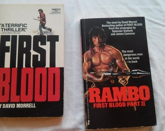 "Vintage 70's and 80's Paperbacks, ""First Blood"" and ""Rambo:First Blood Part II"" by David Morrell"