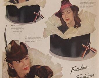 STETSON HATS  Ladies Fashions Hat Box Original Vintage Magazine Advertisement Ready To Frame Additional Ads Ship FREE