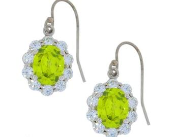 Peridot & Zirconia Oval Dangle Earrings .925 Sterling Silver
