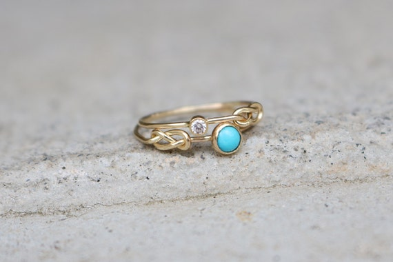 items similar to turquoise and diamond love knot rings