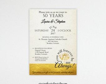 Vow Renewal Invitation, Anniversary, 5th, 15th, 20th, 25th, 35th, 40th, 50th, Wedding Invitation, Invite, Silver, Purple, Digital,  V82416g