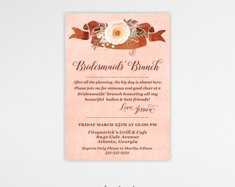 Bridesmaids Brunch,  Bridal Shower, Bridesmaids' Lunch, Tea Party, Customized, Printable, Digital, BW11005
