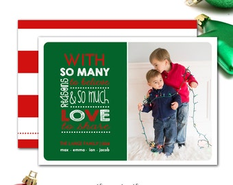 Christmas Card Photo,  Red and Green, One Photo, Christmas Cards, Traditional Holiday Photo Card, Printable Digital File or Printed