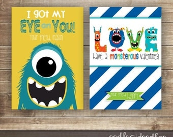 Monster Valentines / Boy's Valentines / Personalized Kid's Valentine's Day Cards  / Valentine's Day - Printable