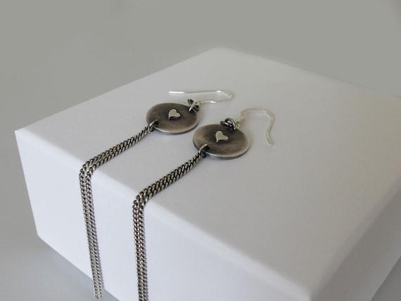 Silver Tassel Earrings, Earrings with Chains, Long Drop Earrings,  Heart Earrings with Tassel, Circular Earrings with Chains, Tassel Earring