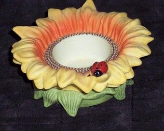 Sunflower and ladybug candle holder,Partylite,vintage,ceramic,votive,tea light ,summer