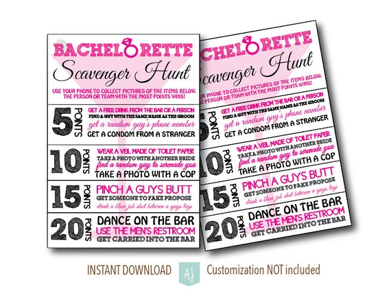 Bachelorette Party Scavenger Hunt Game Bridal Shower Hens Customization NOT Included
