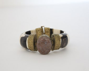 Vintage Boho Clamper Bracelet / Bangle with Agate and Bone and Brass