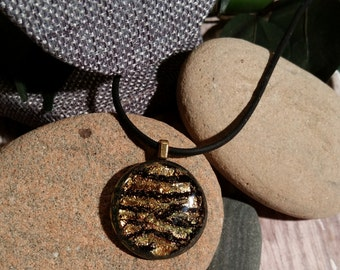 Sparkly Black and Copper Tiger Stripe Dichroic Fused Glass Pendant  - FG-028